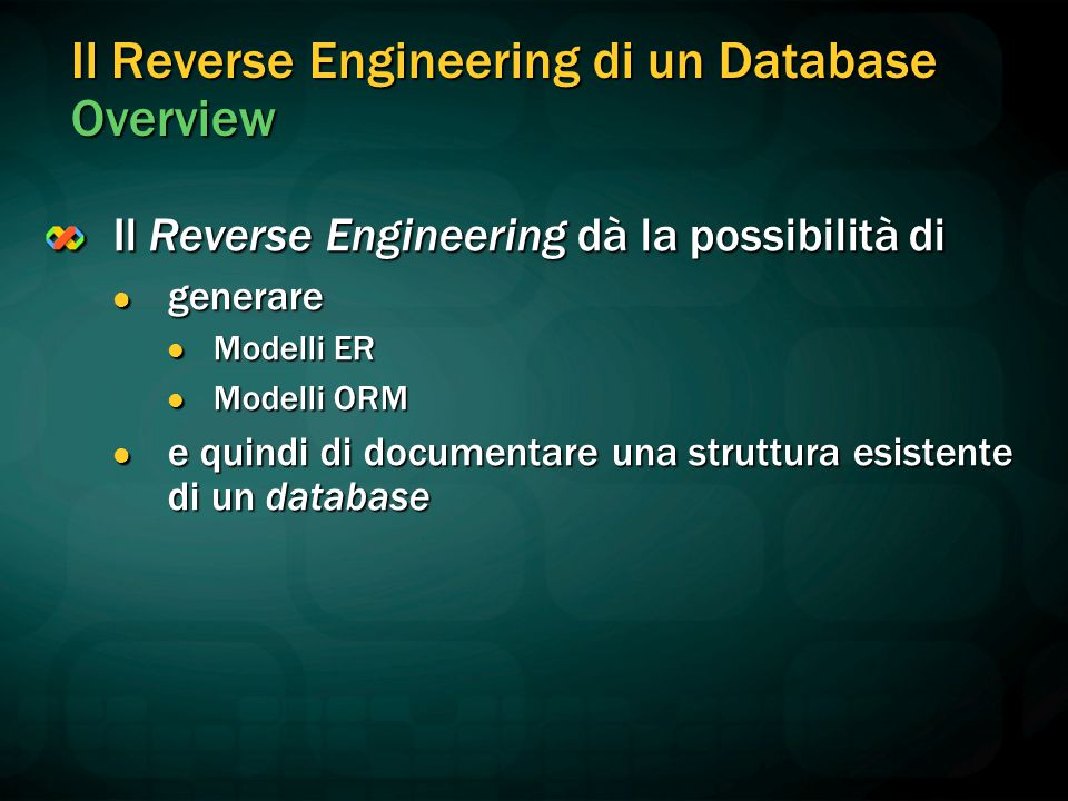 Il Reverse Engineering di un Database Overview