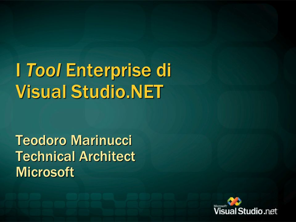 I Tool Enterprise di Visual Studio.NET