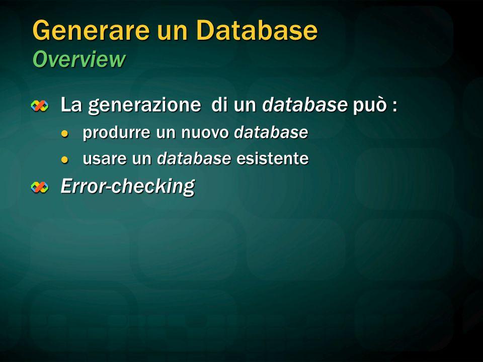 Generare un Database Overview