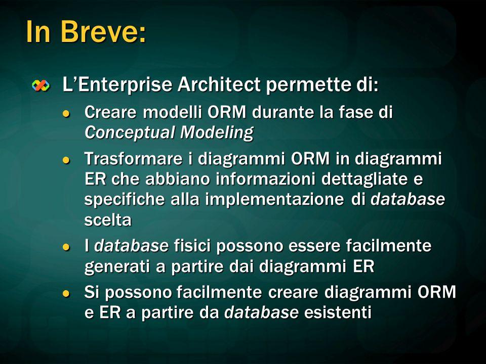 In Breve: L'Enterprise Architect permette di: