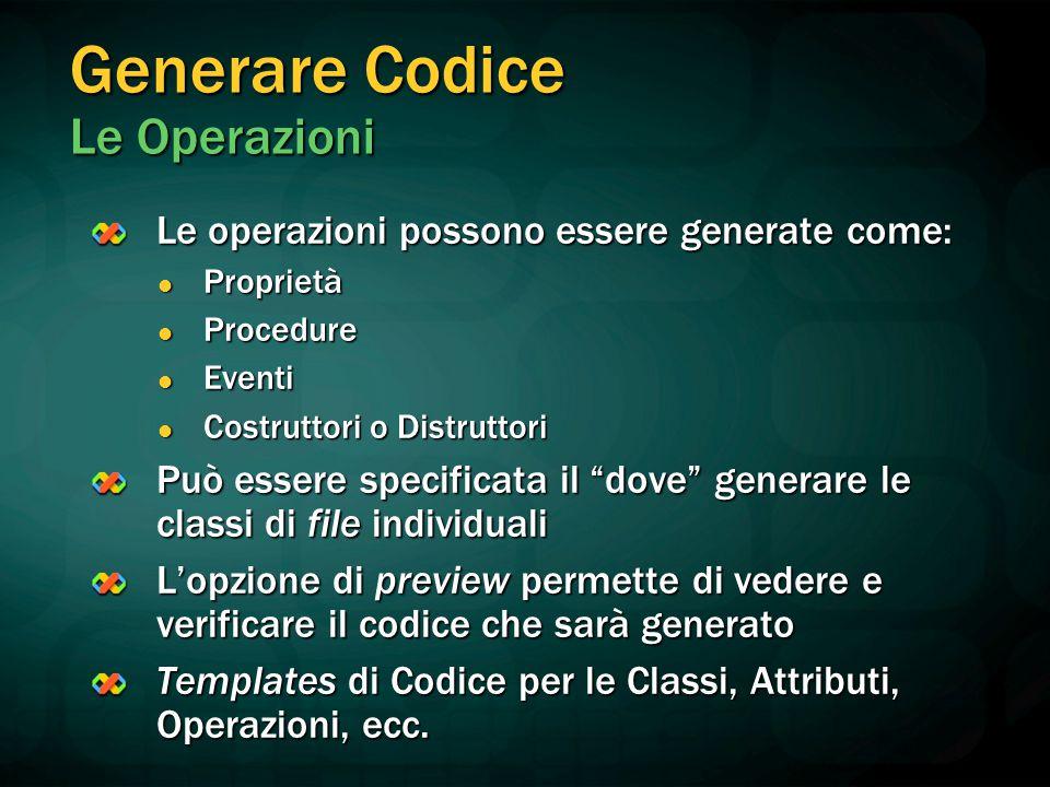 Generare Codice Le Operazioni
