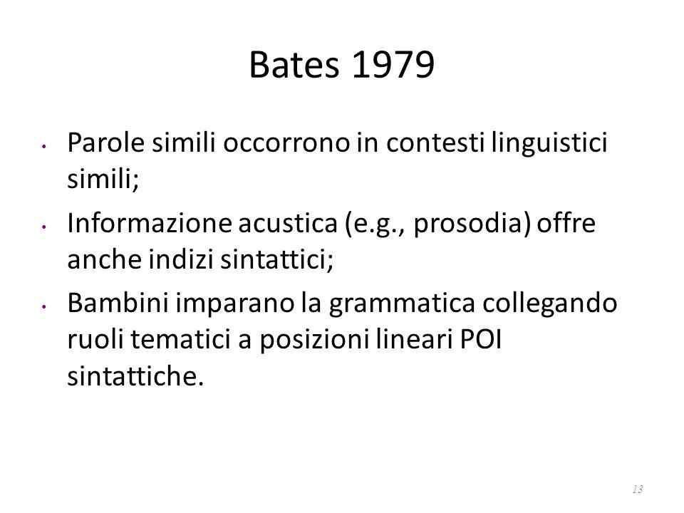 Bates 1979 Parole simili occorrono in contesti linguistici simili;