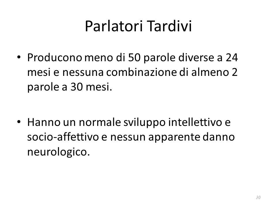Parlatori Tardivi Producono meno di 50 parole diverse a 24 mesi e nessuna combinazione di almeno 2 parole a 30 mesi.