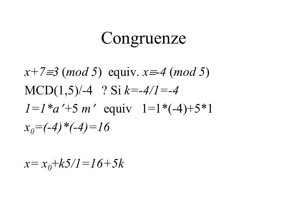 Congruenze x+73 (mod 5) equiv. x-4 (mod 5)