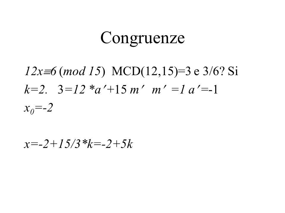 Congruenze 12x6 (mod 15) MCD(12,15)=3 e 3/6 Si