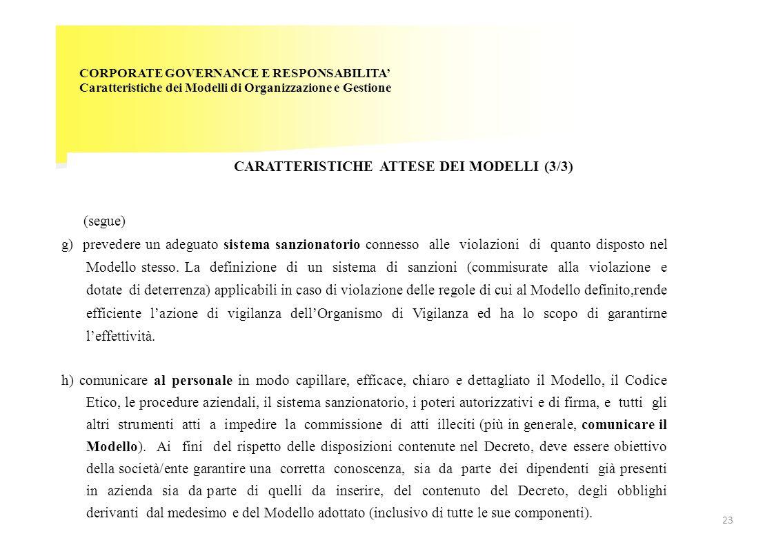CARATTERISTICHE ATTESE DEI MODELLI (3/3)