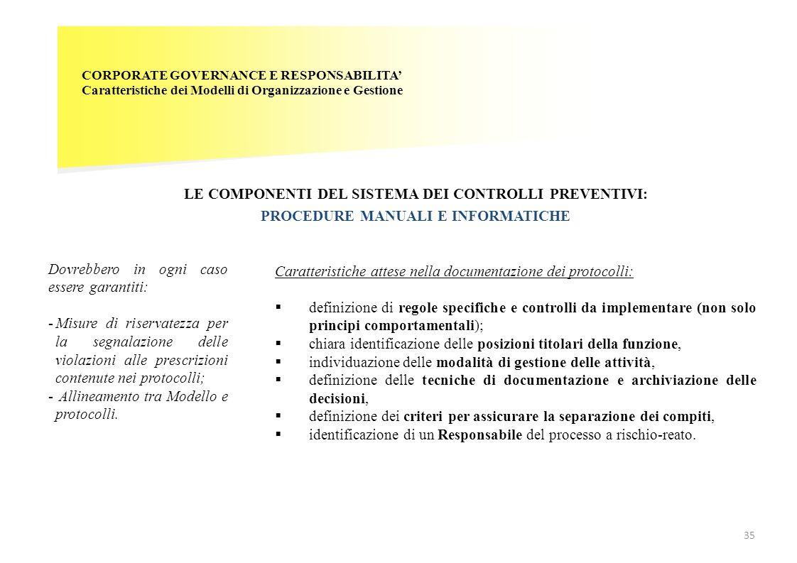 LE COMPONENTI DEL SISTEMA DEI CONTROLLI PREVENTIVI: