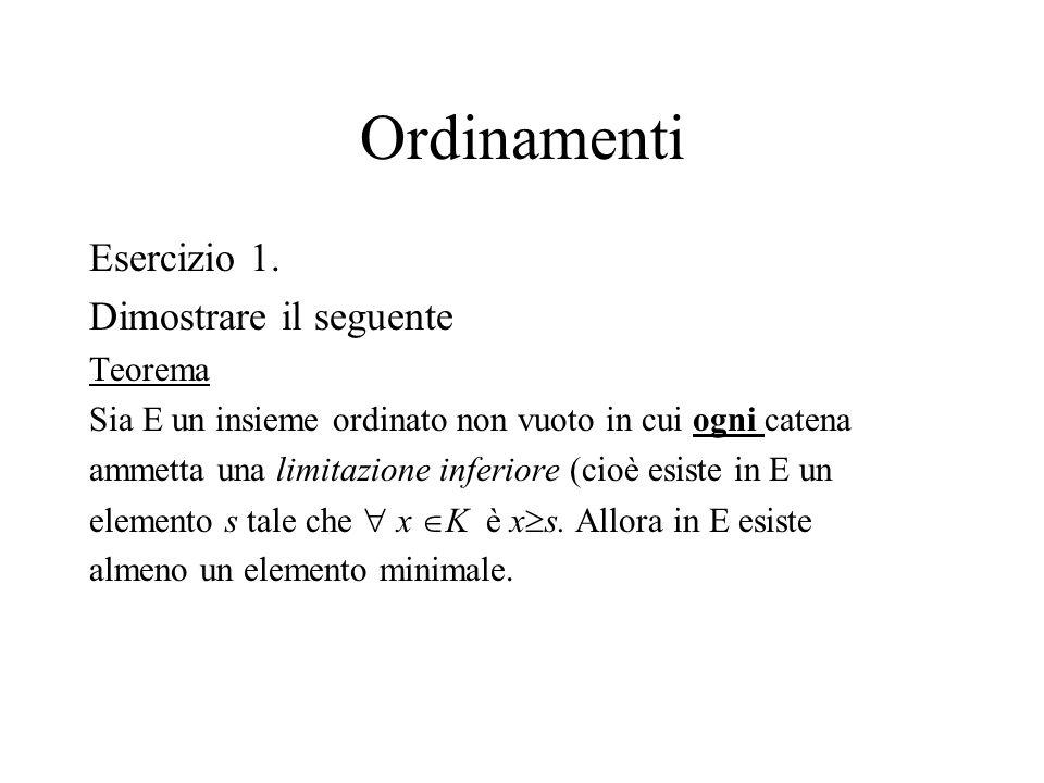 Ordinamenti Esercizio 1. Dimostrare il seguente Teorema