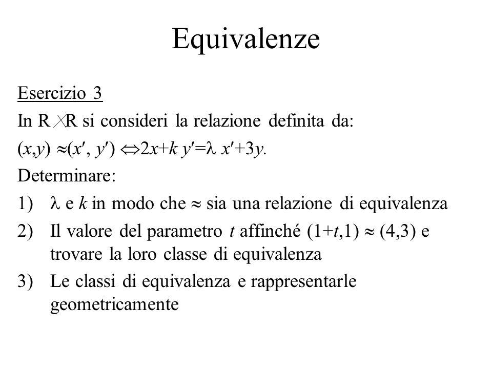 Equivalenze Esercizio 3 In R R si consideri la relazione definita da:
