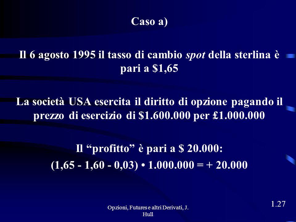 Il 6 agosto 1995 il tasso di cambio spot della sterlina è pari a $1,50