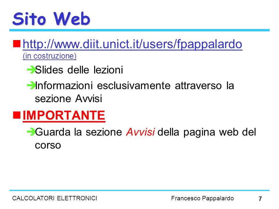 Sito Web http://www.diit.unict.it/users/fpappalardo (in costruzione)