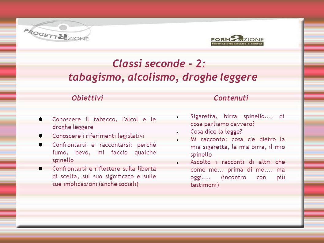 Classi seconde - 2: tabagismo, alcolismo, droghe leggere