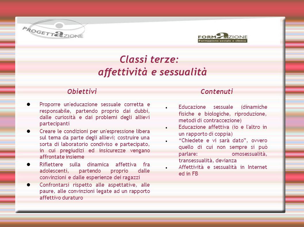 Classi terze: affettività e sessualità