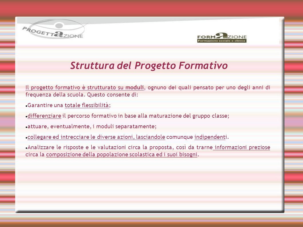 Struttura del Progetto Formativo