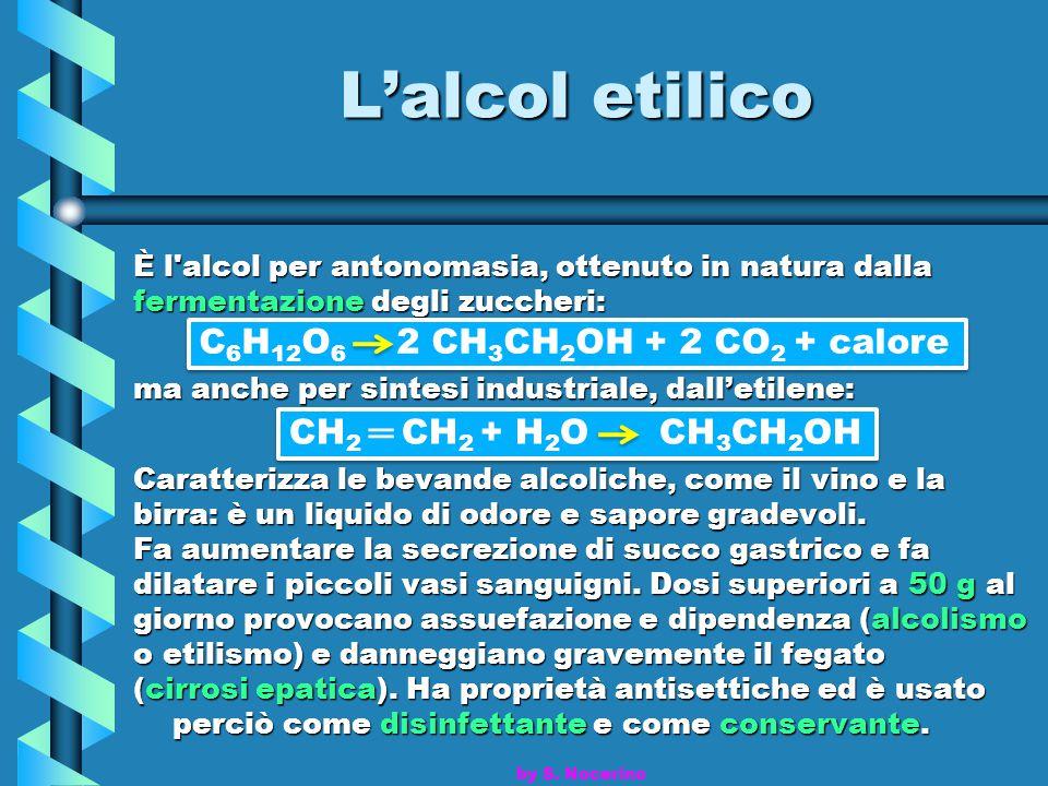 L'alcol etilico C6H12O6 2 CH3CH2OH + 2 CO2 + calore