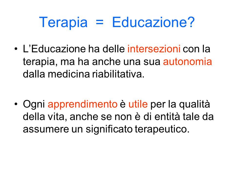 Terapia = Educazione L'Educazione ha delle intersezioni con la terapia, ma ha anche una sua autonomia dalla medicina riabilitativa.