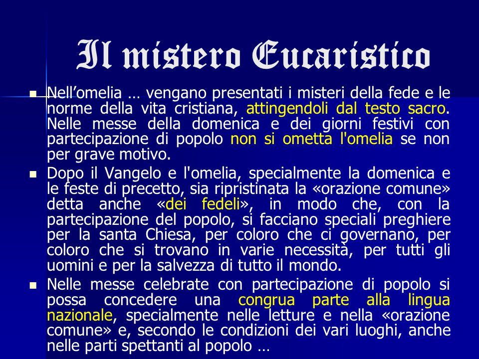 Il mistero Eucaristico