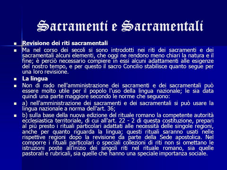 Sacramenti e Sacramentali