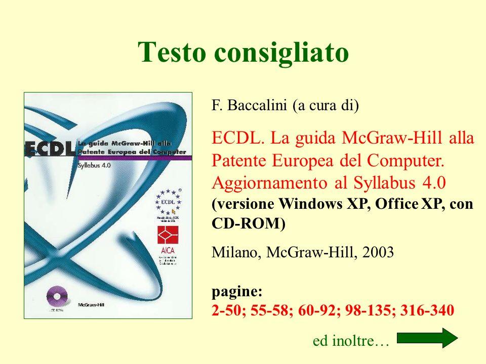 Testo consigliato F. Baccalini (a cura di)