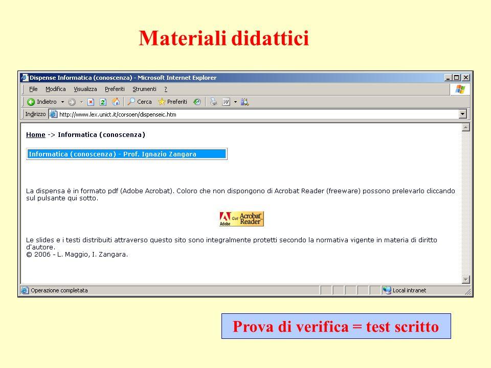 Prova di verifica = test scritto