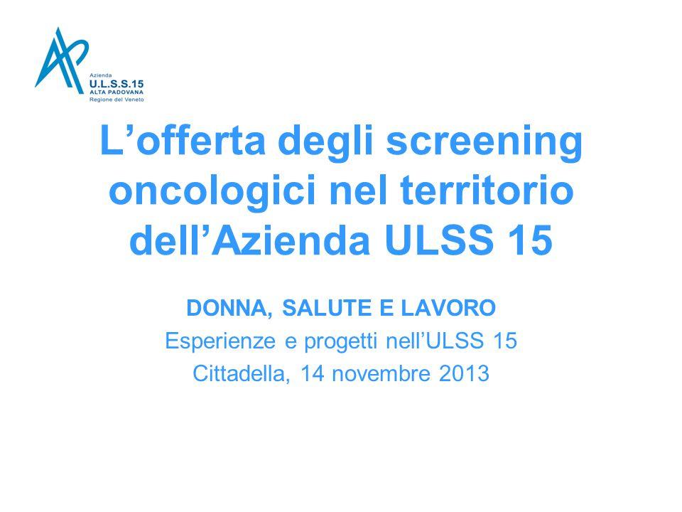 Esperienze e progetti nell'ULSS 15