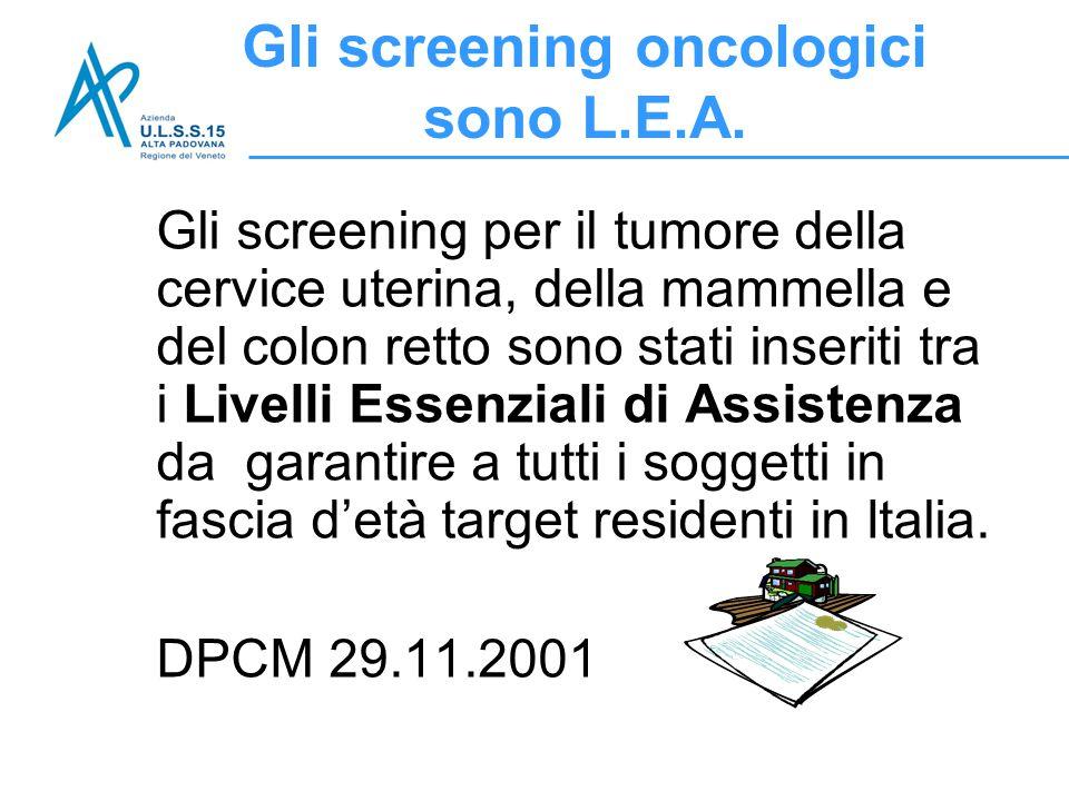 Gli screening oncologici sono L.E.A.