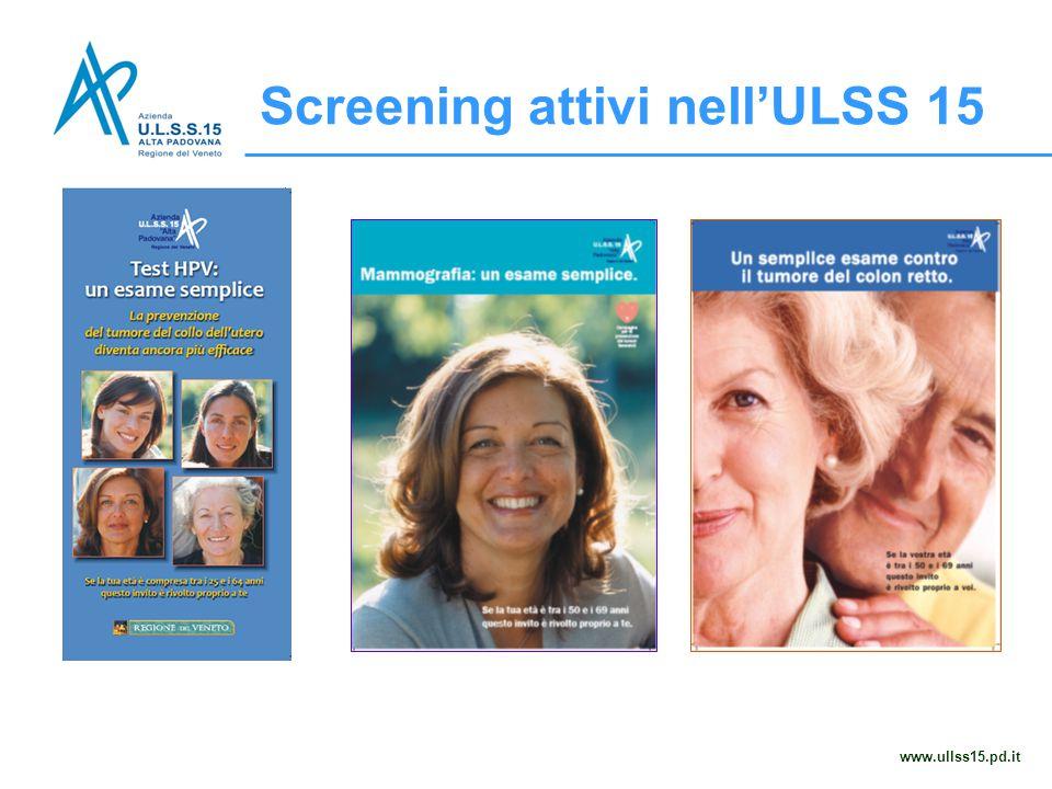 Screening attivi nell'ULSS 15