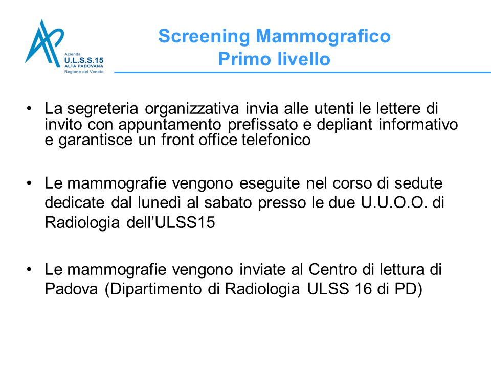 Screening Mammografico Primo livello