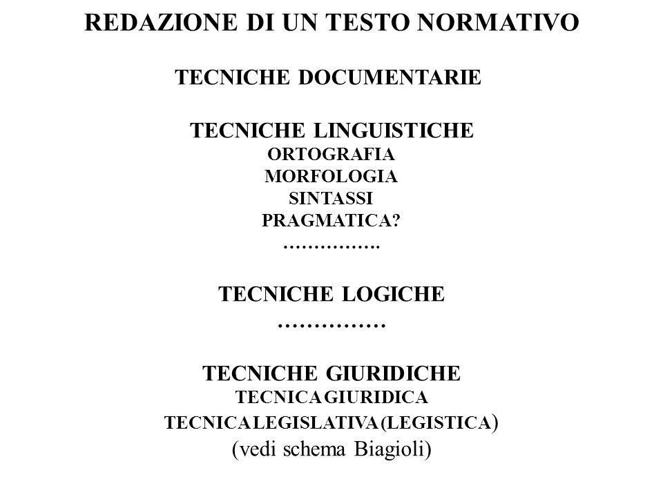 REDAZIONE DI UN TESTO NORMATIVO TECNICHE LINGUISTICHE