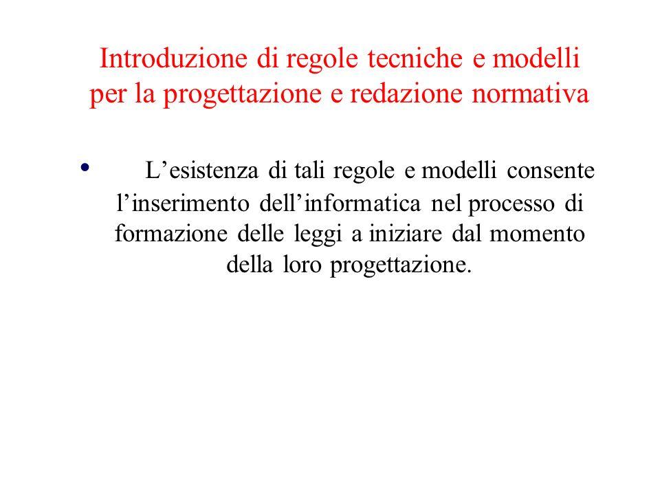 Introduzione di regole tecniche e modelli per la progettazione e redazione normativa
