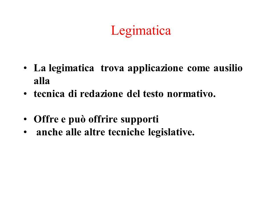 Legimatica La legimatica trova applicazione come ausilio alla