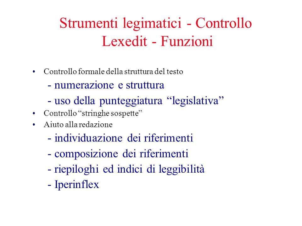 Strumenti legimatici - Controllo Lexedit - Funzioni