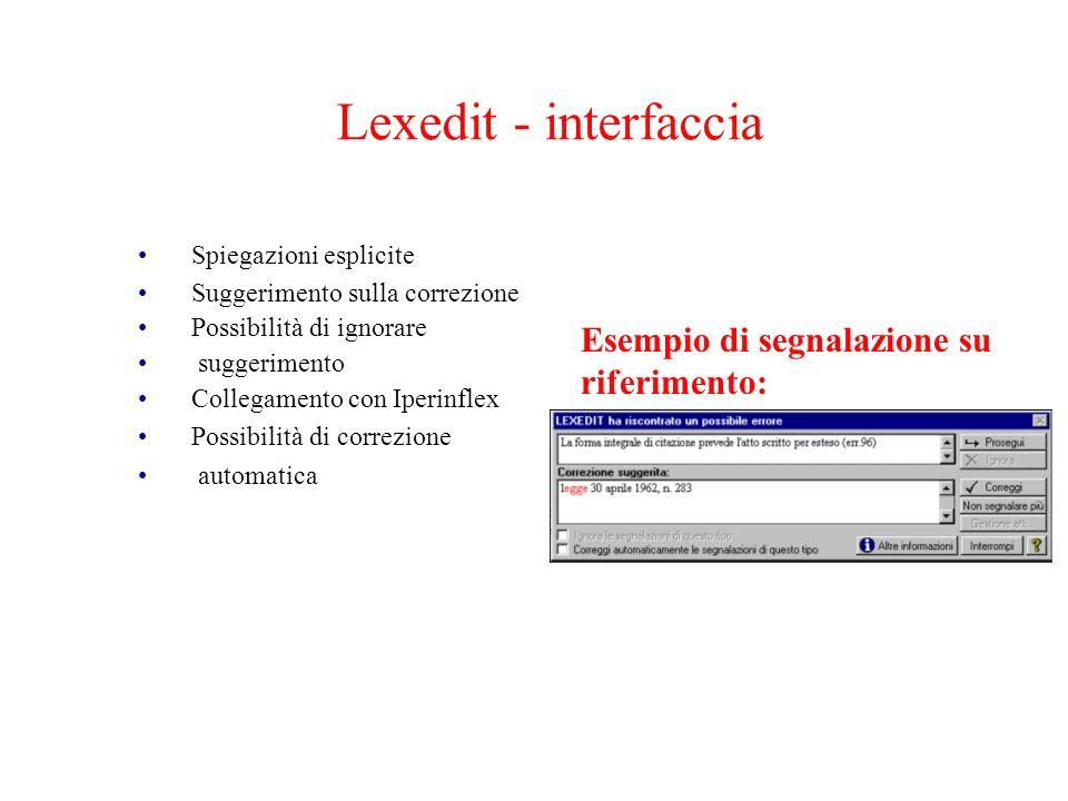 Lexedit - interfaccia Esempio di segnalazione su riferimento: