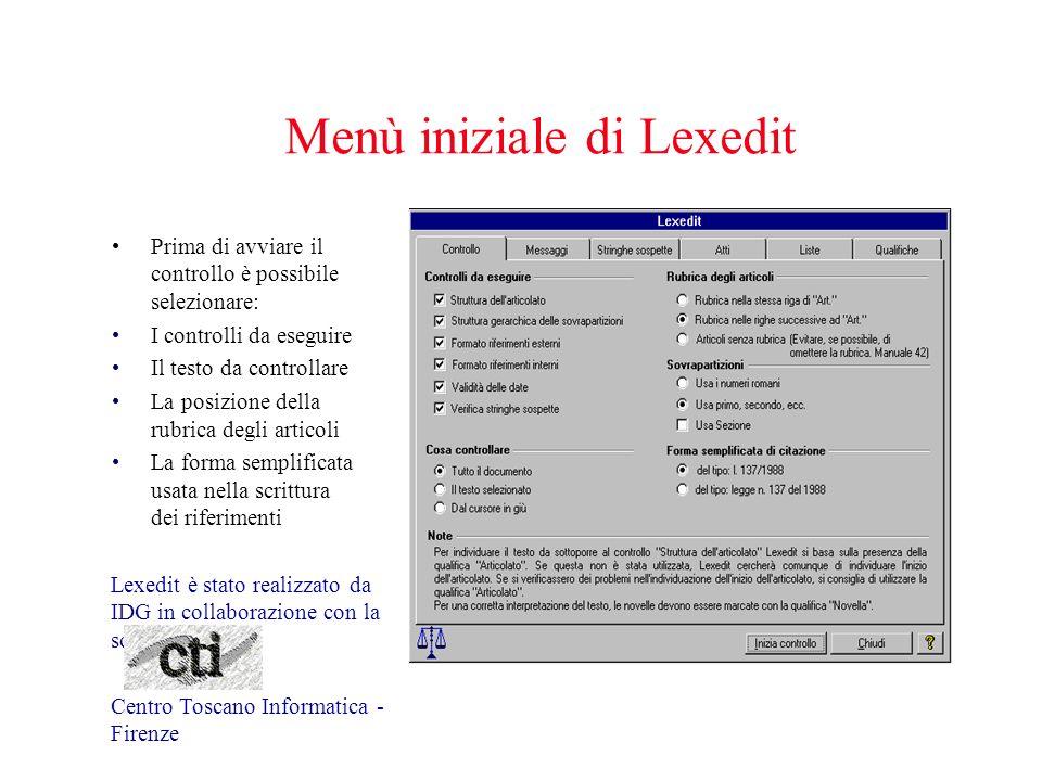 Menù iniziale di Lexedit