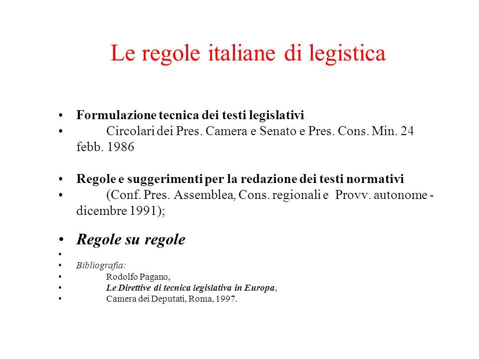 Le regole italiane di legistica