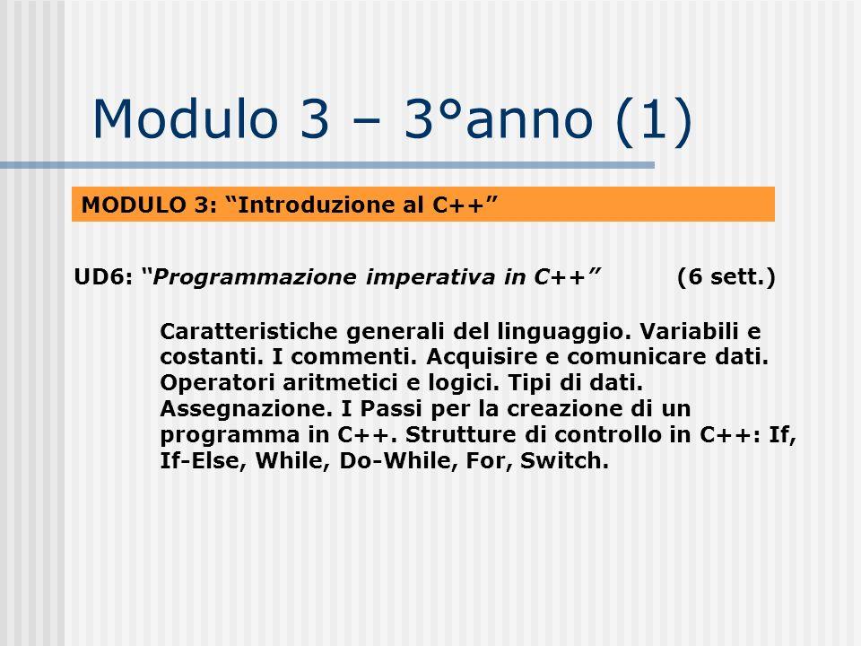 Modulo 3 – 3°anno (1) MODULO 3: Introduzione al C++