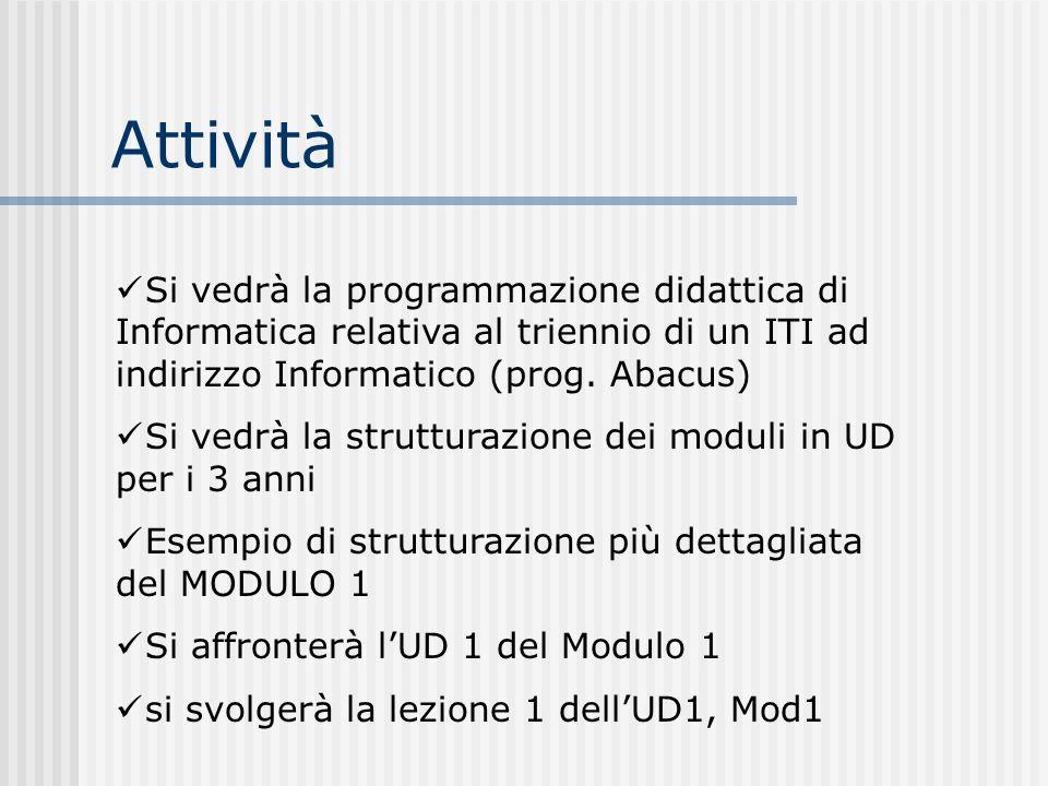 Attività Si vedrà la programmazione didattica di Informatica relativa al triennio di un ITI ad indirizzo Informatico (prog. Abacus)