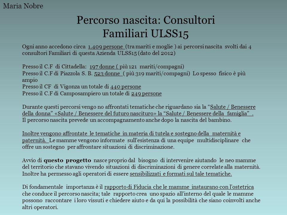 Percorso nascita: Consultori Familiari ULSS15