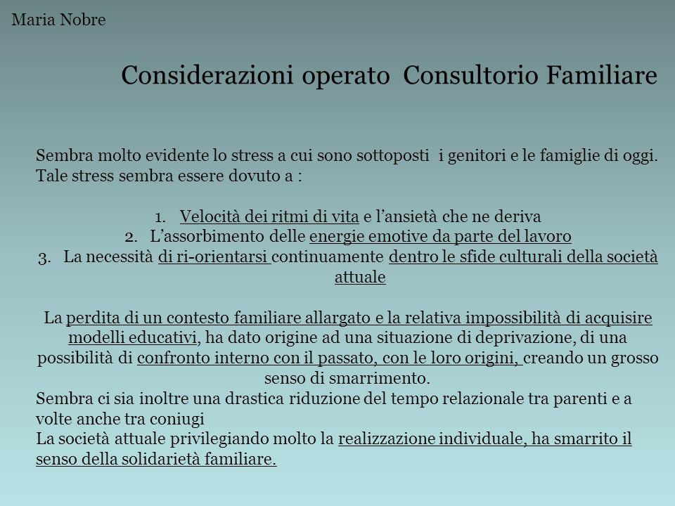 Considerazioni operato Consultorio Familiare