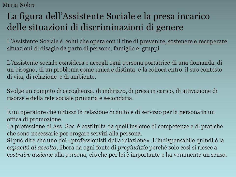 Maria Nobre La figura dell'Assistente Sociale e la presa incarico delle situazioni di discriminazioni di genere.