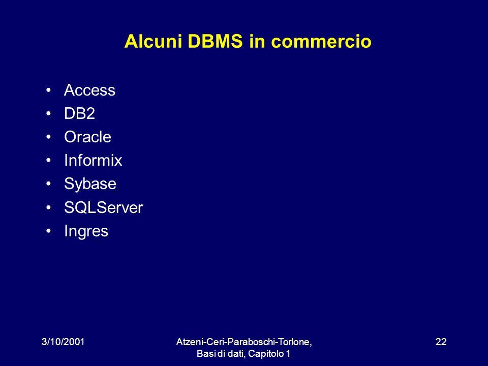 Alcuni DBMS in commercio