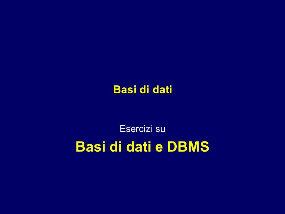Esercizi su Basi di dati e DBMS