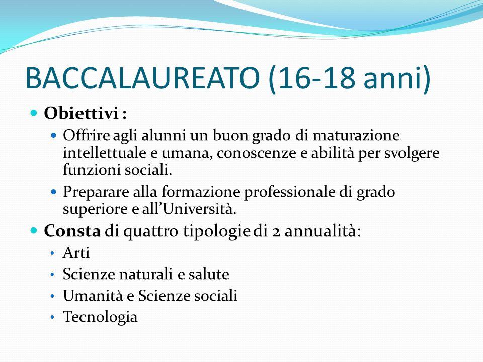 BACCALAUREATO (16-18 anni)