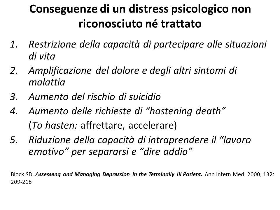 Conseguenze di un distress psicologico non riconosciuto né trattato