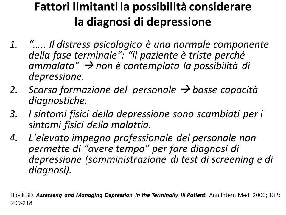 Fattori limitanti la possibilità considerare la diagnosi di depressione