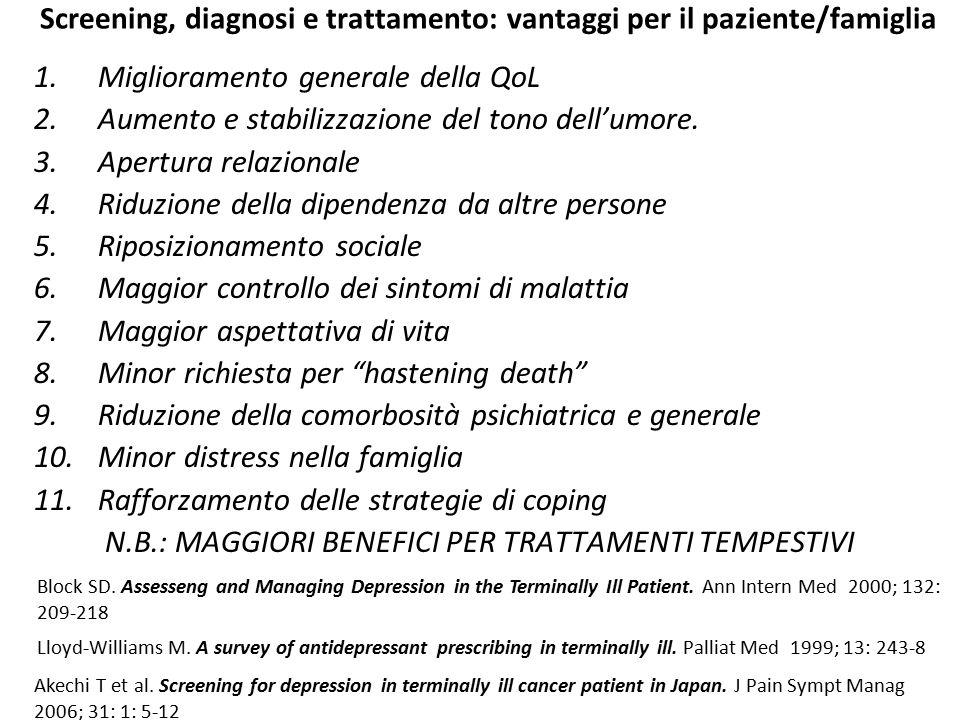 Screening, diagnosi e trattamento: vantaggi per il paziente/famiglia
