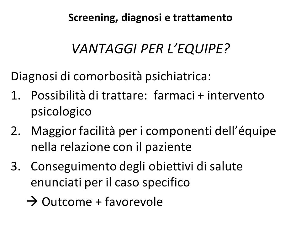 Screening, diagnosi e trattamento