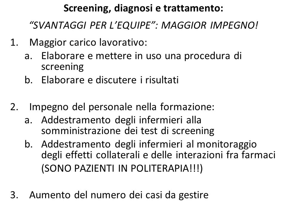 Screening, diagnosi e trattamento: