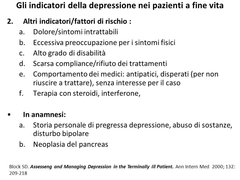 Gli indicatori della depressione nei pazienti a fine vita