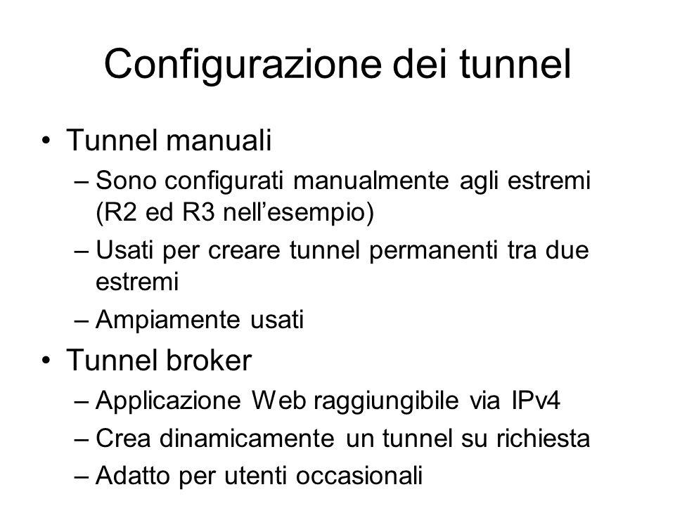 Configurazione dei tunnel